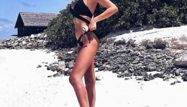 На обложку журнала: жена Артема Кравца позирует на пляже