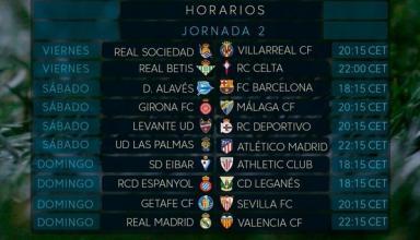 Чемпионат Испании: расписание и результаты 2-го тура, таблица Примеры
