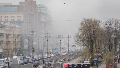 В Киеве на Крещатике были слышны взрывы, центр затянуло дымом