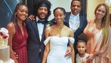 Ах, эта свадьба: Бейонсе с мужем и дочкой сходили на свадьбу друзей